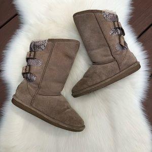 BearPaw 'Boshie' Tall Brown Buckle Boots